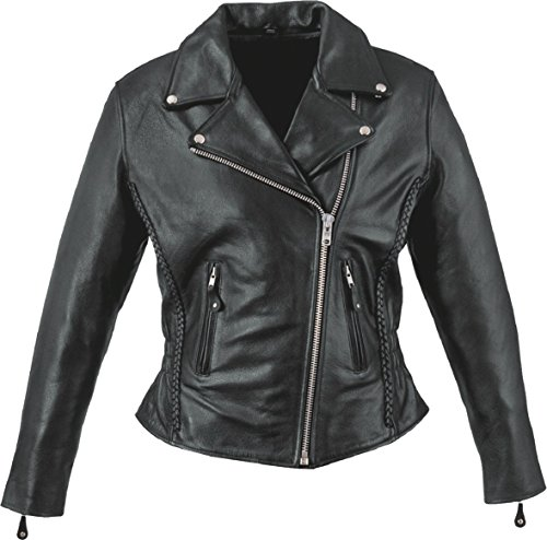 Event Leather Women's Zip Out Liner Braid Motorcycle Jacket (Black, 4X-Large)