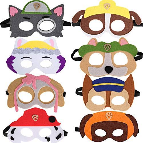 Ouinne 8 Stück Fühlte Tiermasken, Filz Hund Masken Mit Elastischen Seil für Kinder Geburtstag Bühnenaufführungen Thema Party