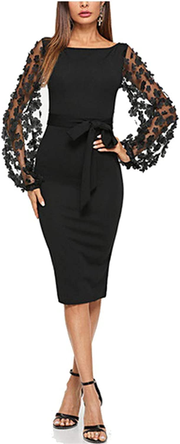COOCOl Flower Applique Contrast Mesh Sleeve Form Fitting Belted Solid Dress Autumn Women Streetwear