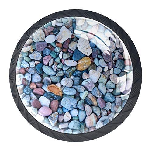 [4 st] Lådknappar kristall glas skåp knoppar dra handtag färgglad makadam sten