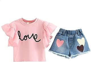 Fairy-Baby Kids Girls Short Sleeve Ruffle Sleeve Cotton T-shirt Tee Tops+Denim Shorts