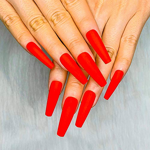 Artquee 24pcs Red Long Ballerina Matte Coffin Fake Nails Press on Nail False Tips Manicure for Women and Girls
