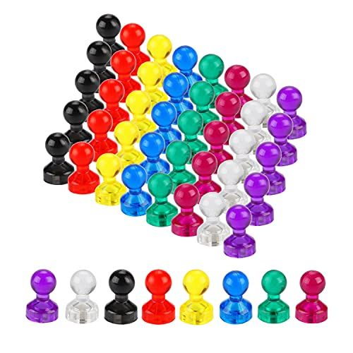Homvik 40Pcs 8Colores Chinchetas con Imán Pin Magnética Imanes para Pizarra Magnética Nevera Chinchetas Imanes Colores con Caja