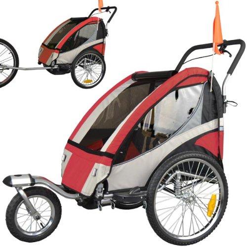 Remolque de bici para niños completamente amortiguado con kit de footing, color: rojo 504S-01: Amazon.es: Deportes y aire libre