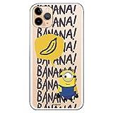 Funda para iPhone 11 Pro MAX Oficial de Los Minions Los Minions Banana para Proteger tu mvil. Carcasa para Apple de Silicona Flexible con Licencia Oficial de Universal.