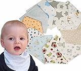 Ti TIN Pack de 10 Baberos Pañuelo Bandana para Bebé 100% Algodón Sin...