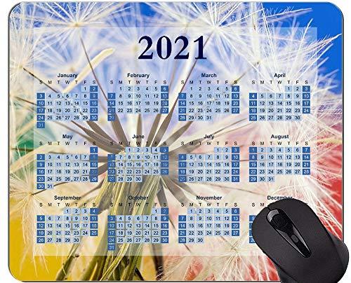 Alfombrilla de ratón con Calendario 2021, Alfombrillas de ratón con Flores Silvestres de Diente de león de Flores