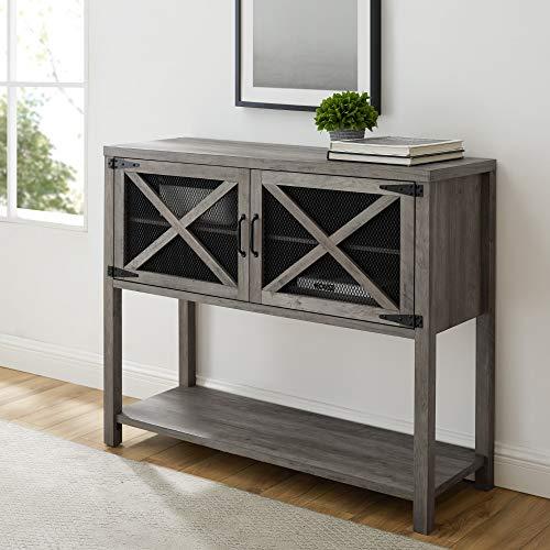 Mejor Walker Edison Furniture Company Mid-Century Modern Buffet Sideboard Kitchen Dining Storage Bar Cabinet Living Room, Slate Grey crítica 2020