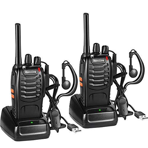 Walkie Talkie Recargable, 16 Canales PMR446 Walky Talky, Profecionales CTCSS DCS 3KM Radiocomunicación, con Auricular Incorporado Antorcha de LED, 1 Pare