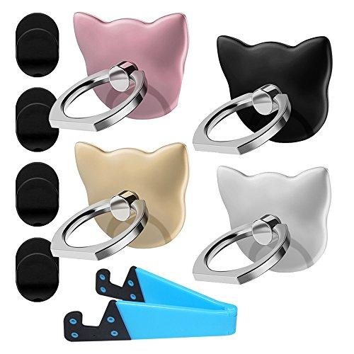 YuCool, 4er-Pack Handy-Ringhalterung / Ständer in Katzenform, 360° drehbar, Universal-Fingergriff- Silber, Roségold, Schwarz, Gold, Blau