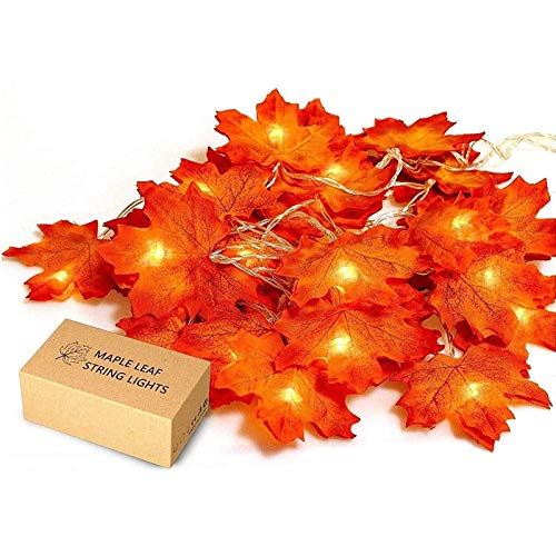 JamBer Fall Maple Leaf Garland 20 LED Maple Leaves Fairy Lights 8.2 Feet Fall Garland Lights Waterproof Maple Leaf String Lights 3AA Battery Powered Lighted Garland for Party Thanksgiving Decor