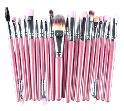 Bigood 20pcs Pinceaux de Maquillage pour Visage Professionnelle Kit de Brosses Cosmétiques