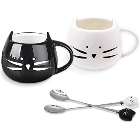 SITAKE 2 Pack Cute Cat Ceramic Coffee Mug Cups with 2 Pcs Spoons Set, 500ml, Great for Women Girls Cat Lovers, Morning Tea Coffee Milk