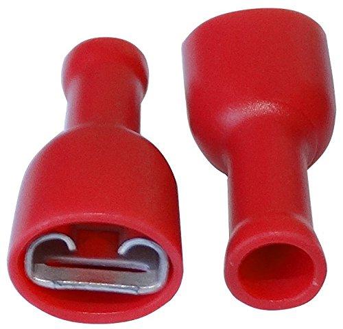 AERZETIX: 100x Terminales electricos Planos Hembra 6.3mm 0.8mm 0.5-1mm² Aislado Rojo C11508