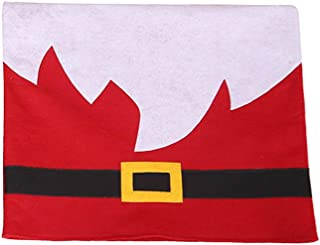 CreazyBee Christmas Decoration Chair Covers Placemat Dining Seat Santa Claus Home Party Decor Santa Beard Chair Package Pad for Xmas Home Party Holiday Decorative (Red Chair Cover)