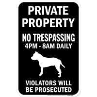 PRIVATE PROPERTY ブラックマグネットサイン:アメリカンスタッフォードシャーテリア シルエット 英語 私有地 無断立入禁止
