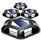 T-SUN Solar Deck Lights Driveway Dock Led Lights Solar Powered Outdoor Waterproof Warning Step Lights Road Markers for Pathway Step Stair 4 Pack (White)