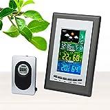 GUOOK Moderne Wetterüberwachung Uhren Wetterstationen Elektronische Indoor/Outdoor LCD Bunte drahtlose Wetterstation Wecker Thermo-Hygrometer mit Adapter