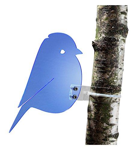 """Sonnenfänger """"Meise"""" aus transparentem Plexiglas (Blau), fluoreszierend -> leuchtende Kanten auch in den Abendstunden, 20 cm Höhe, incl. Montagematerial, Frost- und Witterungsbeständig"""