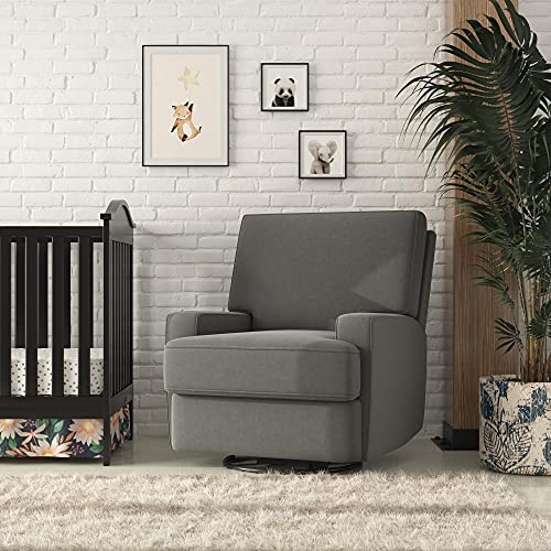 Baby Relax Rylan Swivel Glider Recliner Chair, Coil Seating, Dark Gray