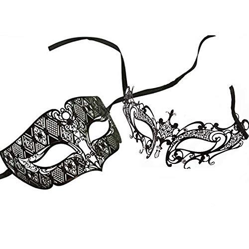 SKY TEARS Venezianischen Masquerade Maske Paar Set Luxus Style Princess Party Maske schwarz