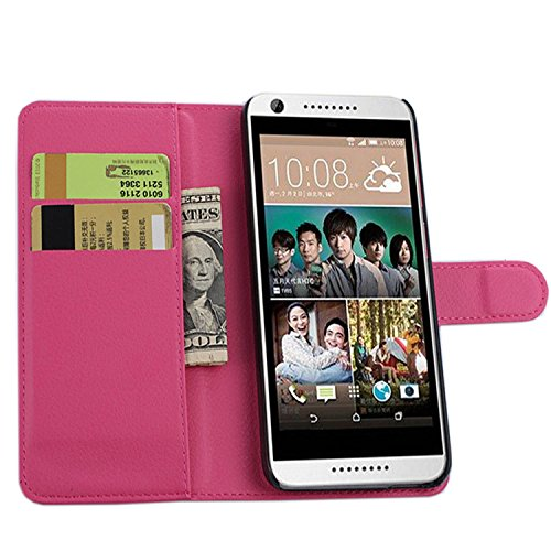 Tasche für HTC Desire 820 Hülle, Ycloud PU Ledertasche Flip Cover Wallet Case Handyhülle mit Stand Function Credit Card Slots Bookstyle Purse Design Rose Red