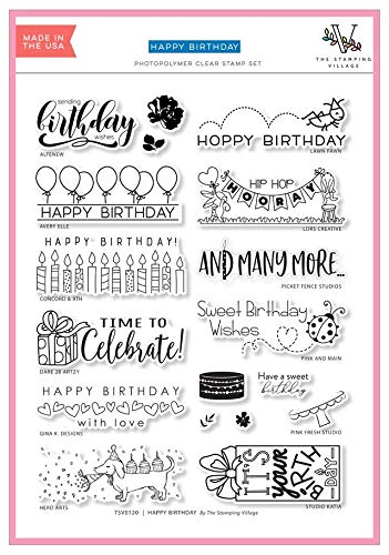 Lawn Fawn Stamping Village Happy Birthday Clear Stamps, Bundle of 12 Stamps Includes Hero Arts, Gina K, Pink Fresh, Waffle Flower, Altenew, Avery Elle, Concord & 9th and More, TSV0219