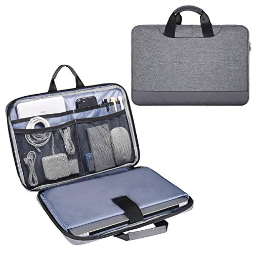 15.6 Inch Laptop Bag, Men Women Travel Briefcase Laptop Sleeve with Organizer for Dell Inspiron 15 5000, Acer Aspire E15, HP Spectre x360 15.6, ASUS Chromebook 15.6, Lenovo Ideapad 330 15.6 Case, Gray