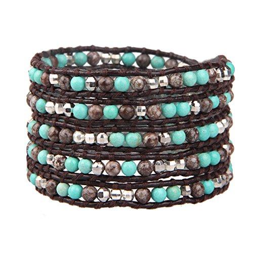 KELITCH Armband Männer Frau Personalisiert Alabaster Achat Blau Türkis Silber Perle 5 Wickeln Armband Auf Dunkel Braun Leder