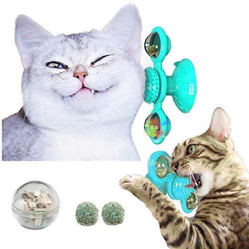TIMSOPHIA Interaktives Katzenspielzeug Windmühle mit Katzenminze & LED-Ball Cat Toys Haustierzubehör Plattenspieler Haarbürste mit Saufnapf (blau)