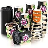 80 Bicchieri Carta per Prendere Il caffè - Tazza con Coperchio di 8 Oncia per Prendere Il...