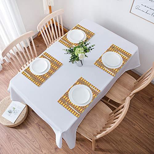 Lot de 4 Sets de Table,Facile à Nettoyer,Soleil géométrique et oriental à l'intérieur d'une fleur,Lavable Napperons pour Cuisine ou pour Table à Manger Résiste à la Chaleur Antidérapant Fait (30x45cm)