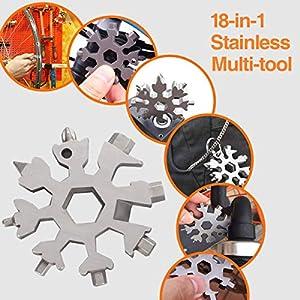 Wabin 18 en 1 copo de nieve de acero inoxidable portátil multi-herramienta, destornillador multifunción de nieve abrelatas anti-pérdida llavero portátil herramientas increíbles (plata)