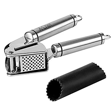 Garlic Press, X-Chef Stainless Steel Garlic Presser Kitchen Garlic Mincer and Peeler Set, Professional Ginger Presser with Silicone Tube Roller and Cleaning Brush, Dishwasher Safe