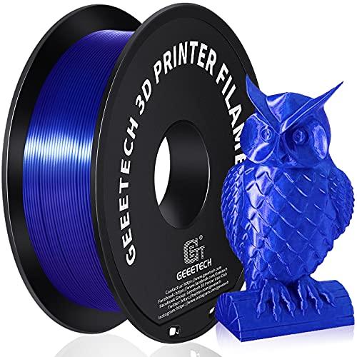 GEEETECH PLA Silk filament 1.75mm, 3D Drucker Filament PLA 1kg Spool (royal blue)