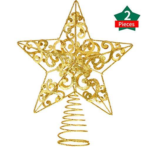 Blulu 2 Piezas 10 Pulgadas Estrella de Metal Adorno de Árbol de Navidad Brillante para Decoración de Fiesta...