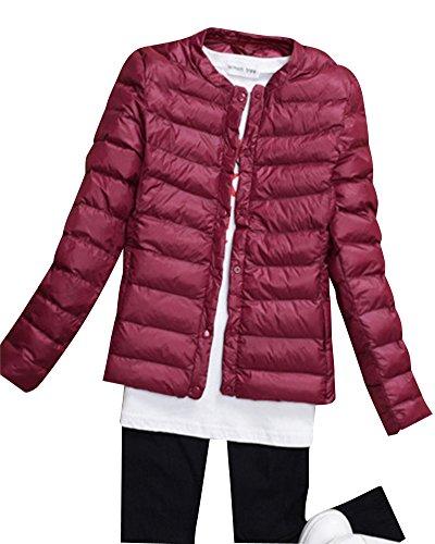 Damen Bepackbare Daunenjacke Leichte Steppjacke Daunenjacke Für Winter Burgunderrot XL
