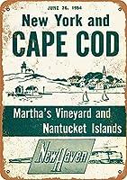 1954年ニューヘイブンレイルロードニューヨークとケープコッド、ブリキサインヴィンテージ面白い生き物鉄の絵画金属板ノベルティ