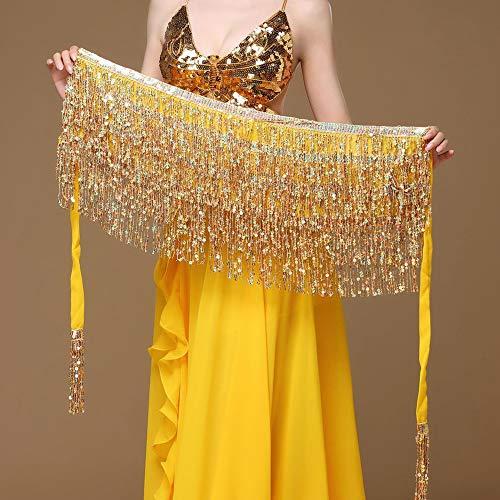 Wankd buikdansdoek, buikdanskostuum pailletten kwastje heupdoek outfits rok riem festival kleding 200 cm goud