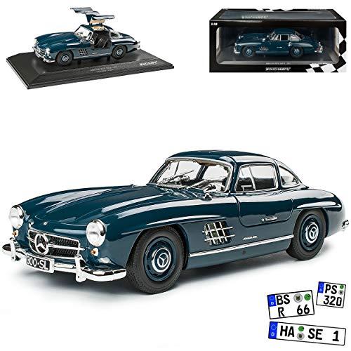 Mercedes-Benz 300SL SL-Klasse Coupe Dunkel Blau W198 1954-1963 Flügeltürer limitiert 300 Stück 1/18 Minichamps Modell Auto mit individiuellem Wunschkennzeichen