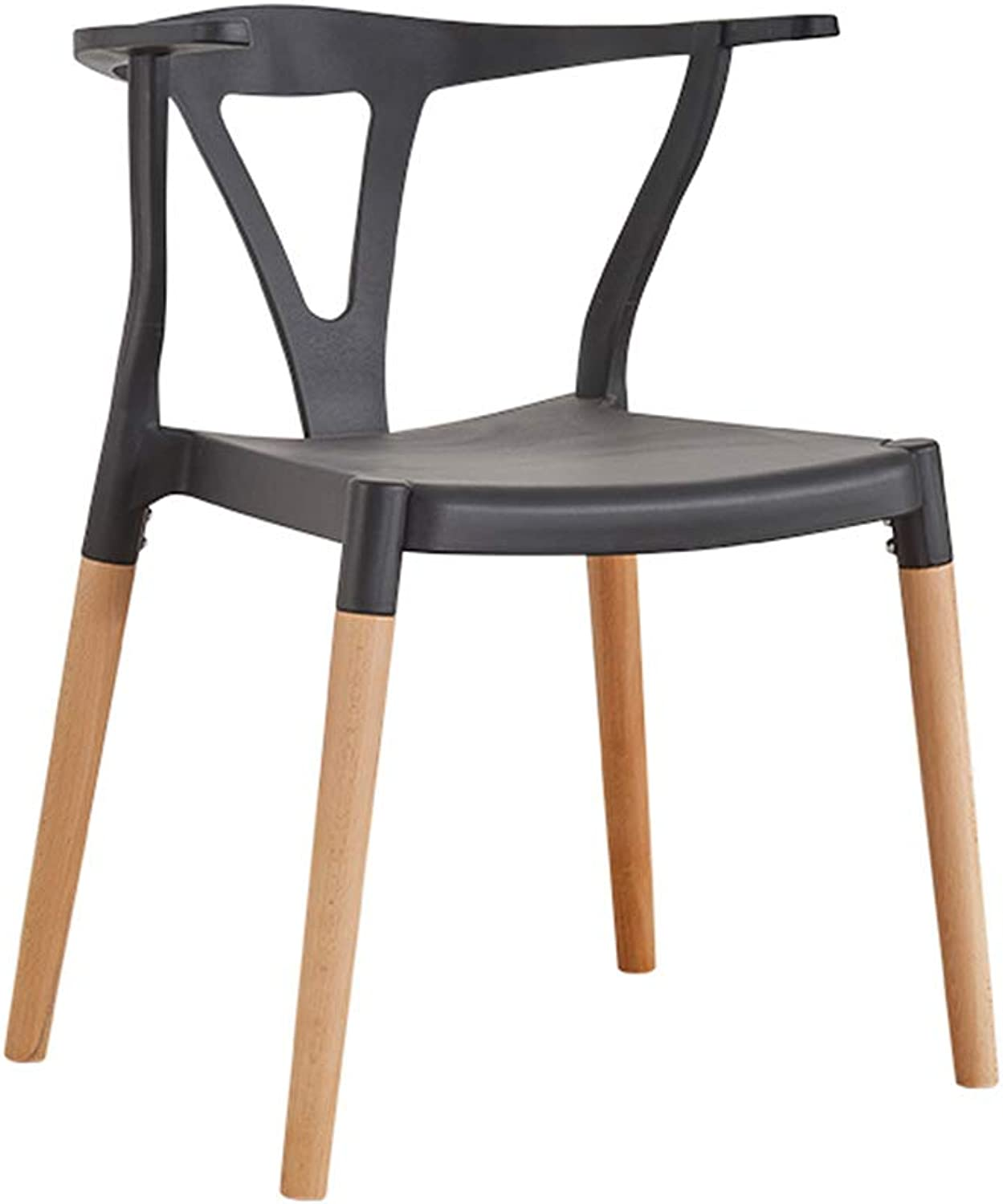 LJHA ertongcanyi Stool, Home Solid Wood Restaurant Desk Stool Reception Chair Adult White Dining Stool 2 color Optional (color   Black, Size   46  45  74cm)