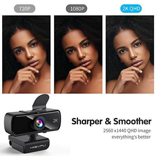 Hiievpu 2K Webcam mit Mikrofon für PC und Laptop, USB Webkamera mit Datenschutz, Plug & Play Kompatibel mit Windows, Mac, und Android, für Streaming, Spiele, Video konferenzen, Zoom, Cisco WebEx