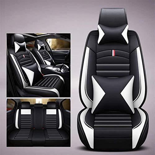 5 sièges voiture imperméable pu cuir avant arrière siège de voiture housse de coussin avec appui-tête taille coussins de soutien pour berline ou SUV,White