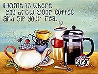 レトロなヴィンテージの家はあなたがあなたのコーヒーとお茶を醸造した場所です金属錫サインホームバーカフェレストランの壁の装飾サイン12x8インチ