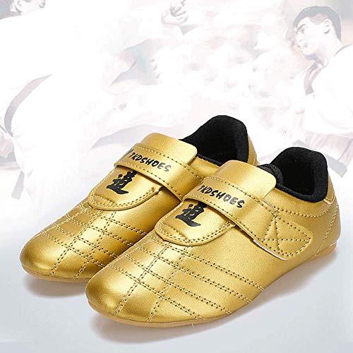 HAOLIN Taekwondo Schuhe Leichte Kampfsporttrainer Schuhe Für Männer Frauen Kinder Erwachsene Boxen Karate Schuhe Leder Klettverschluss,A-38