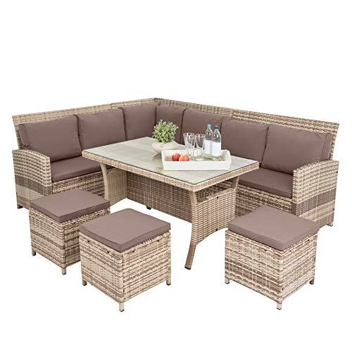 ESTEXO Polyrattan Lounge Set in luxuriöser Optik bestehend aus 1 Couch, 3 Hockern und 1 Tisch, inklusive Sitzpolster, beige - 4