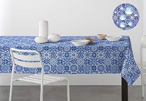 DHestia Tischdecke, fleckenabweisend, Teflon, pflegeleicht, Bedruckt, hydraulische Fliesen, Tesela 140x250 cm Blau