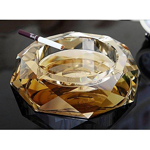 Rollsnownow Golden Creative Cendrier Crystal Glass Diamètre extérieur 20 * 20 * 4 cm, diamètre intérieur 13 * 13 * 2.5 cm