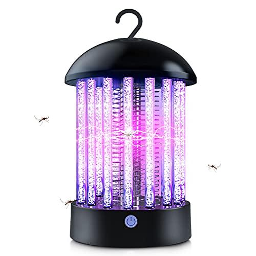 T98 Elektrischer Insektenvernichter, Insektenfalle Mückenlampe UV Moskito Killer mit LED-licht Wiederaufladbar Mückenfalle Insektenkiller für Schlafzimmer Garten Camping