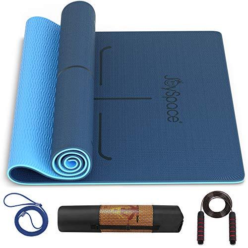 JOYSPACE Yogamatte Gymnastikmatte rutschfest aus Hochwertigen TPE Fitnessmatte Sportmatte für Yoga Pilates Fitness Übungen und Gymnastik mit Tasche e Tragegurt -183 x 61 x 0,6cm